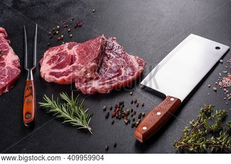 Fresh Raw Beef Meat To Make Delicious Juicy Steak With Spices And Herbs