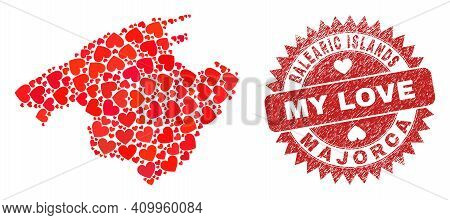 Vector Mosaic Majorca Map Of Valentine Heart Items And Grunge My Love Seal Stamp. Mosaic Geographic