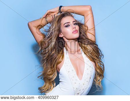 Beauty Portrait Of Young Sexy Woman. Fashion And Glamor