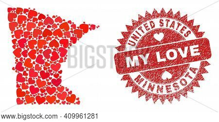 Vector Collage Minnesota State Map Of Valentine Heart Elements And Grunge My Love Stamp. Collage Geo
