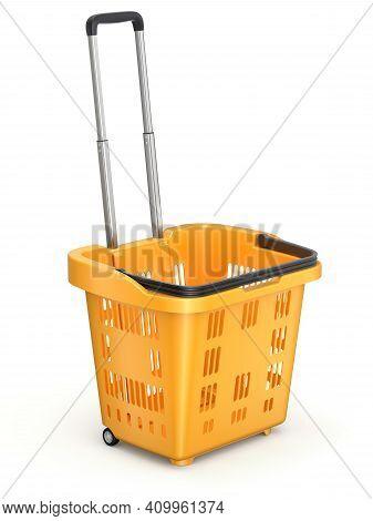 Orange Rolling Basket On White Background - 3d Illustration