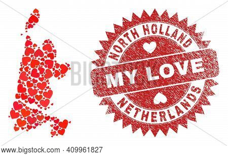 Vector Mosaic North Holland Map Of Lovely Heart Items And Grunge My Love Seal Stamp. Mosaic Geograph