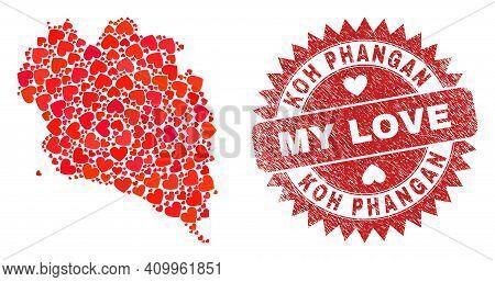 Vector Mosaic Koh Phangan Map Of Valentine Heart Items And Grunge My Love Badge. Mosaic Geographic K