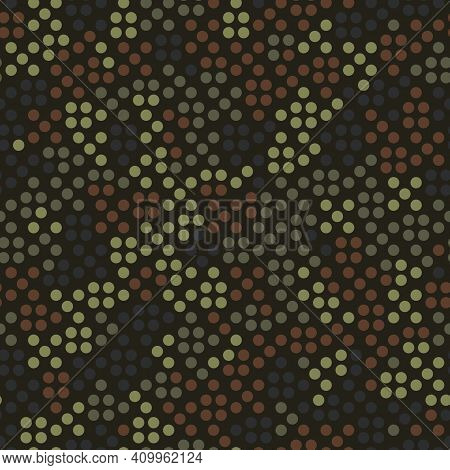 Abstract Seamless Pattern With Khaki Colored Chaotic Circles On Dark