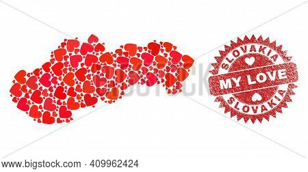 Vector Mosaic Slovakia Map Of Love Heart Items And Grunge My Love Seal Stamp. Mosaic Geographic Slov