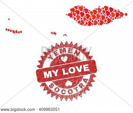 Vector Collage Socotra Archipelago Map Of Lovely Heart Items And Grunge My Love Seal Stamp. Collage