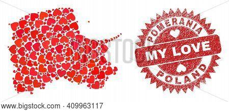 Vector Mosaic Pomeranian Voivodeship Map Of Love Heart Items And Grunge My Love Stamp. Mosaic Geogra