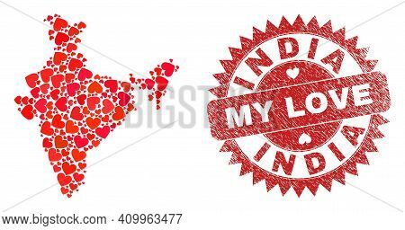 Vector Mosaic India Map Of Valentine Heart Items And Grunge My Love Seal Stamp. Mosaic Geographic In