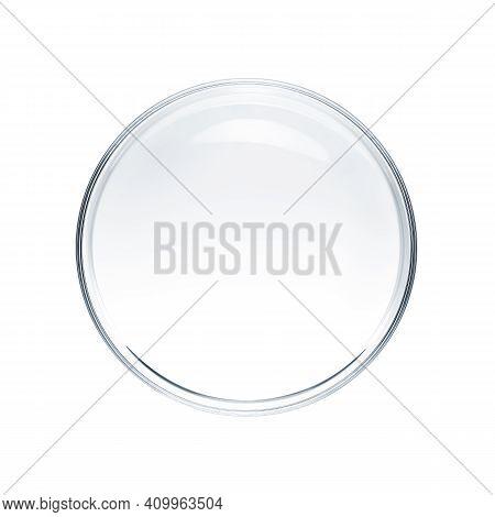 Empty Petri Dish Isolated On White Background - Flat Lay