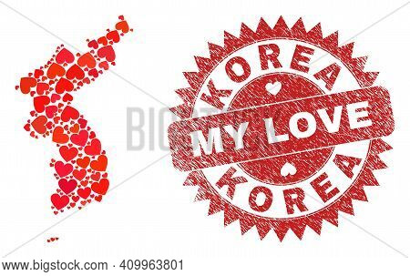Vector Collage Korea Map Of Love Heart Elements And Grunge My Love Badge. Mosaic Geographic Korea Ma