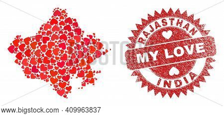 Vector Mosaic Rajasthan State Map Of Love Heart Items And Grunge My Love Seal Stamp. Collage Geograp