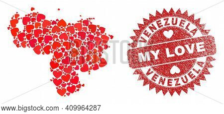 Vector Mosaic Venezuela Map Of Love Heart Items And Grunge My Love Stamp. Mosaic Geographic Venezuel