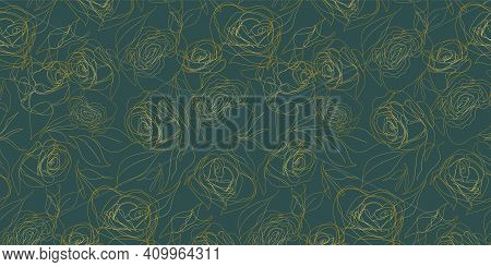 Luxurious Gold And Rose Green Vector Background. Floral Seamless Pattern, Golden Plant Line Art. Mod