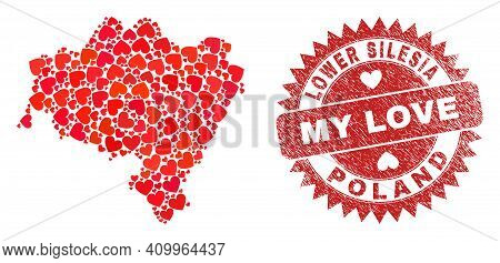 Vector Collage Lower Silesia Province Map Of Lovely Heart Items And Grunge My Love Badge. Collage Ge