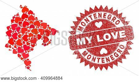 Vector Mosaic Montenegro Map Of Love Heart Items And Grunge My Love Stamp. Mosaic Geographic Montene