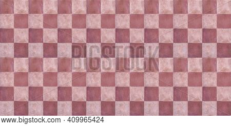 Terracotta Floor Tiles Red Pink And White Color Background Texture. Banner