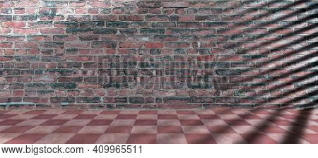 Terracotta Floor Tiles Red Pink Color And Brickwall Background