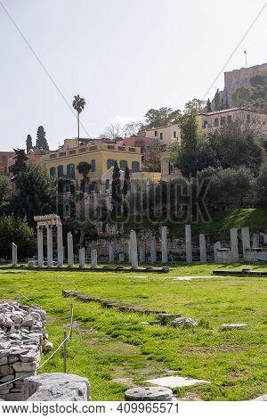 Roman Agora Or Roman Forum In Athens, Greece Background.