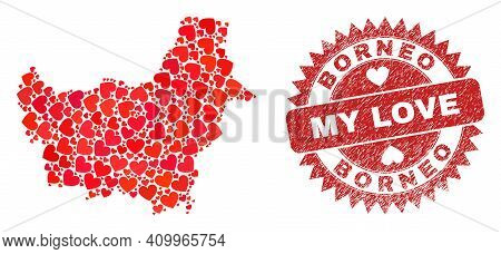 Vector Mosaic Borneo Map Of Love Heart Elements And Grunge My Love Seal Stamp. Collage Geographic Bo