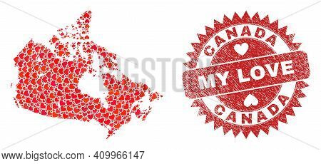 Vector Collage Canada Map Of Love Heart Elements And Grunge My Love Seal. Mosaic Geographic Canada M
