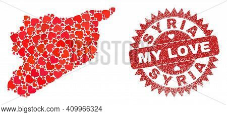 Vector Mosaic Syria Map Of Lovely Heart Items And Grunge My Love Stamp. Mosaic Geographic Syria Map