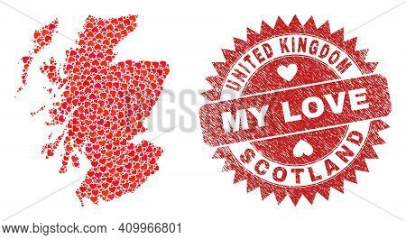 Vector Mosaic Scotland Map Of Valentine Heart Elements And Grunge My Love Seal. Mosaic Geographic Sc