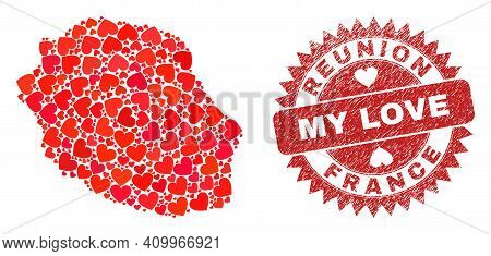 Vector Collage Reunion Island Map Of Love Heart Items And Grunge My Love Stamp. Collage Geographic R