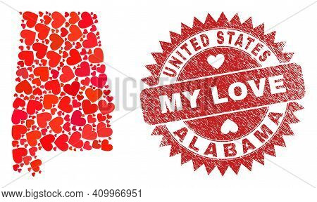 Vector Collage Alabama State Map Of Lovely Heart Elements And Grunge My Love Seal Stamp. Mosaic Geog