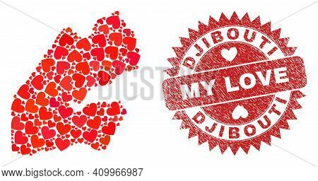 Vector Collage Djibouti Map Of Love Heart Elements And Grunge My Love Seal. Collage Geographic Djibo