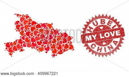 Vector Collage Hubei Province Map Of Lovely Heart Items And Grunge My Love Seal Stamp. Collage Geogr