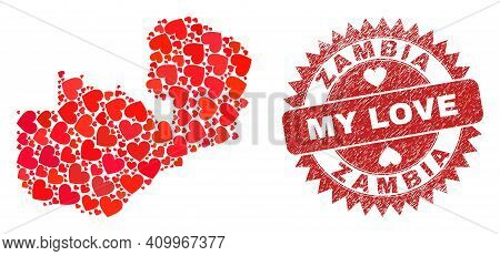 Vector Collage Zambia Map Of Lovely Heart Items And Grunge My Love Badge. Collage Geographic Zambia