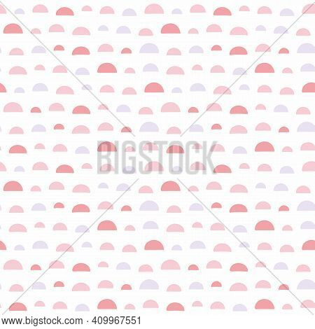 Semicircle Abstract Pattern Design Background. Fun Vector Seamless Repeat Of Pink Curved Shapes.
