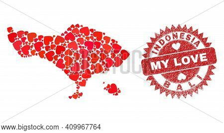 Vector Collage Bali Map Of Love Heart Elements And Grunge My Love Seal Stamp. Collage Geographic Bal