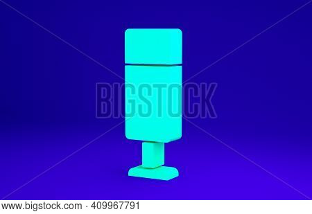 Green Punching Bag Icon Isolated On Blue Background. Minimalism Concept. 3d Illustration 3d Render