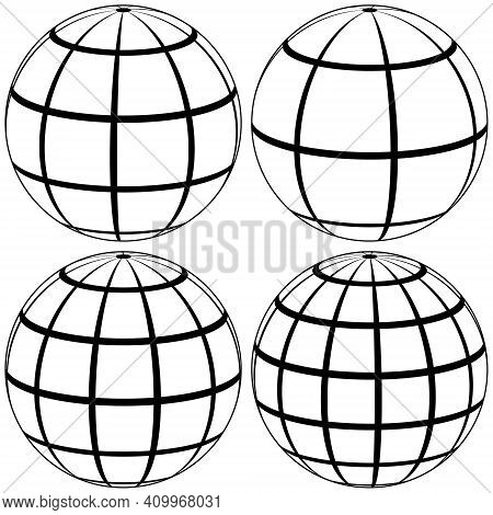 Graticule Globe Meridian And Parallel, Vector Template Graticule Ball With Lines Earth Globe With Me