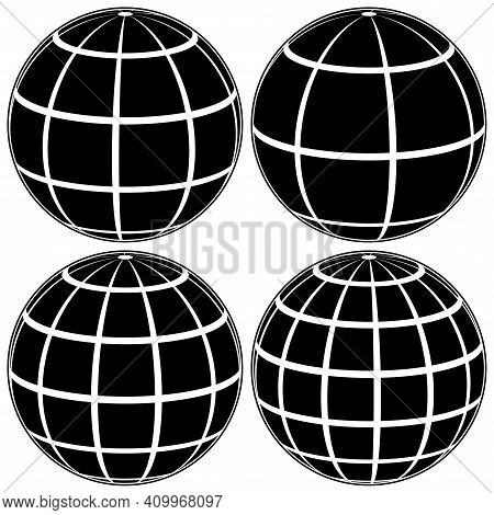 Set Black Globe 3d Model Of The Earth Or Of The Planet, Model Of The Celestial Sphere With Coordinat