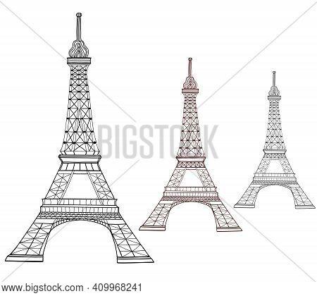 Eiffel Tower Paris France. Landmark Vector Architecture Black Illustration. Travel Tourism Europe Ar