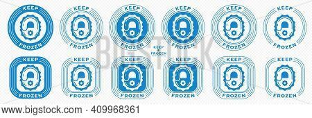 Concept For Product Packaging. Marking - Keep Frozen And Frozen Product. The Icon Of The Lock Closin