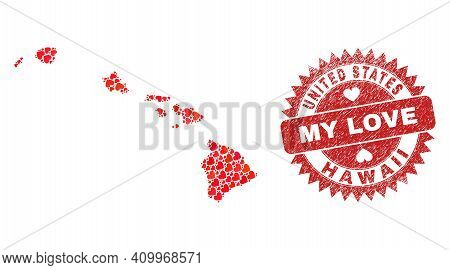 Vector Collage Hawaii State Map Of Lovely Heart Items And Grunge My Love Badge. Collage Geographic H