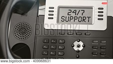 Always Available Support - Concept Of Text On The Ip Phone Display. Closeup Ip Phone
