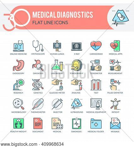 Set Of Filled Outline Icons On Following Topics Medical Diagnostics, Healthcare Diagnosis, Medical E