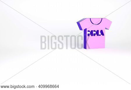 Purple T-shirt With Fight Club Mma Icon Isolated On White Background. Mixed Martial Arts. Minimalism