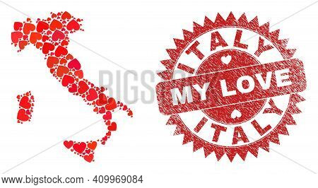 Vector Mosaic Italy Map Of Love Heart Items And Grunge My Love Seal Stamp. Mosaic Geographic Italy M