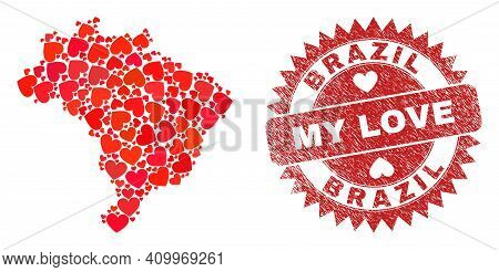 Vector Collage Brazil Map Of Love Heart Items And Grunge My Love Badge. Collage Geographic Brazil Ma