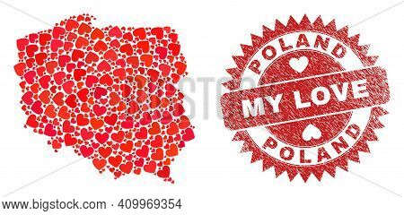 Vector Collage Poland Map Of Valentine Heart Items And Grunge My Love Seal. Collage Geographic Polan