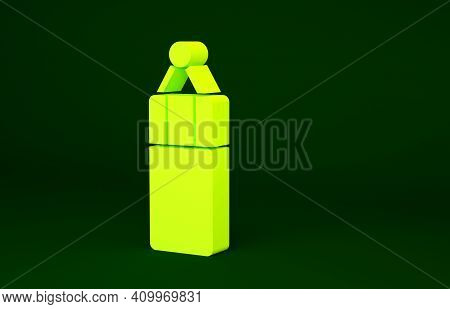 Yellow Punching Bag Icon Isolated On Green Background. Minimalism Concept. 3d Illustration 3d Render