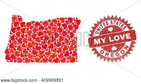 Vector Mosaic Oregon State Map Of Lovely Heart Items And Grunge My Love Seal. Mosaic Geographic Oreg