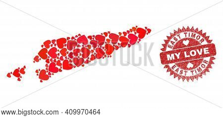 Vector Mosaic East Timor Map Of Love Heart Items And Grunge My Love Stamp. Mosaic Geographic East Ti