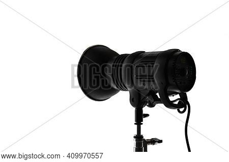 Professional Studio Spot Light, Silhouette Photo Isolated On White Background