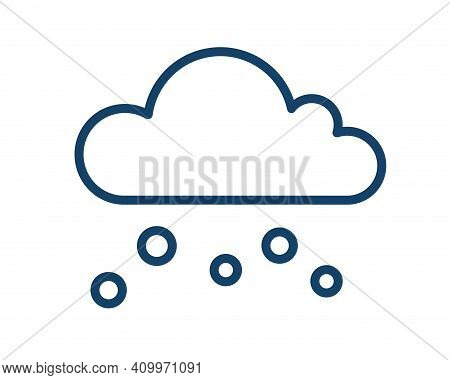 Simple Icon With Snow Or Hail Falling From Cloud. Snowy Weather Logo In Line Art Style. Contoured Fl